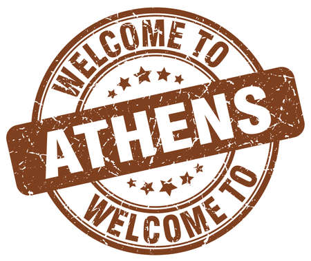 athens: welcome to Athens brown round vintage stamp Illustration