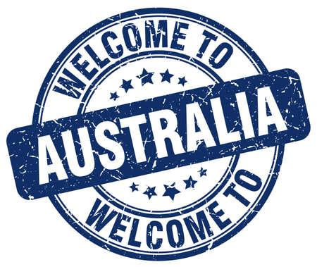australia stamp: welcome to Australia blue round vintage stamp Illustration