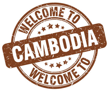 cambodia: welcome to Cambodia brown round vintage stamp Illustration
