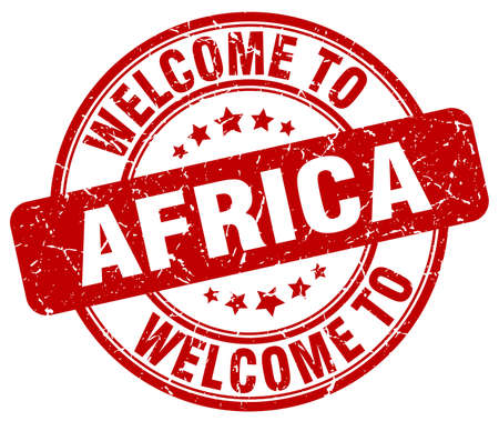 vintage stamp: welcome to Africa red round vintage stamp