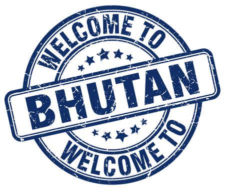 bhutan: welcome to Bhutan blue round vintage stamp