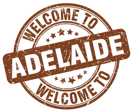 adelaide: welcome to Adelaide brown round vintage stamp