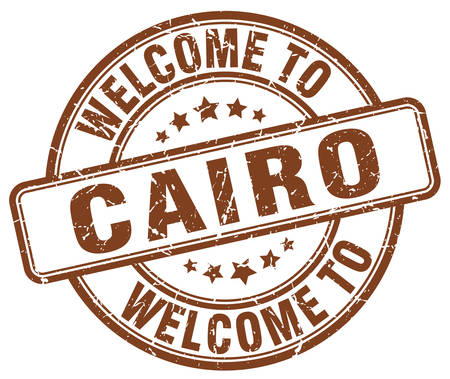 cairo: welcome to Cairo brown round vintage stamp