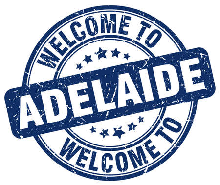 adelaide: welcome to Adelaide blue round vintage stamp