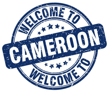 cameroon: welcome to Cameroon blue round vintage stamp Illustration