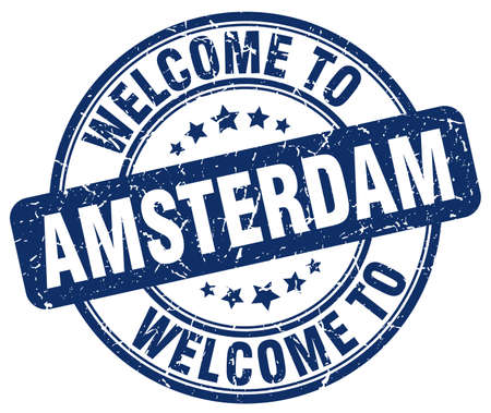 amsterdam: welcome to Amsterdam blue round vintage stamp