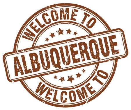 albuquerque: welcome to Albuquerque brown round vintage stamp Illustration