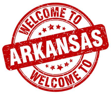arkansas: welcome to Arkansas red round vintage stamp Illustration