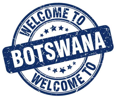 botswana: welcome to Botswana blue round vintage stamp
