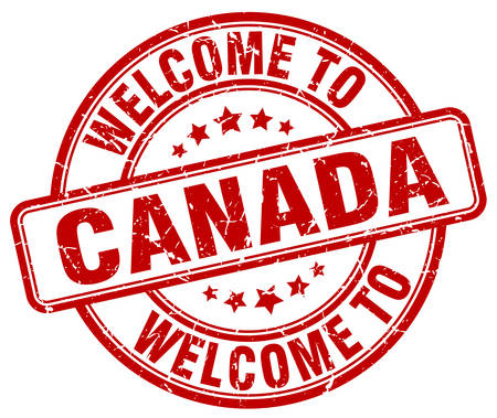 canada stamp: welcome to Canada red round vintage stamp Illustration
