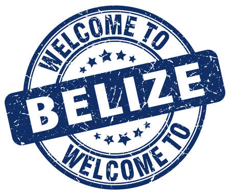 belize: welcome to Belize blue round vintage stamp
