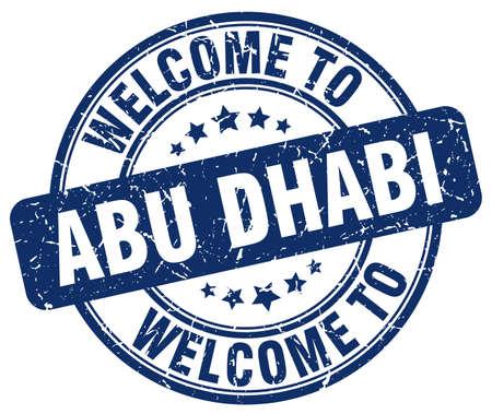 bienvenue à Abu Dhabi rond bleu vintage stamp