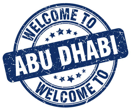 vintage stamp: welcome to Abu Dhabi blue round vintage stamp
