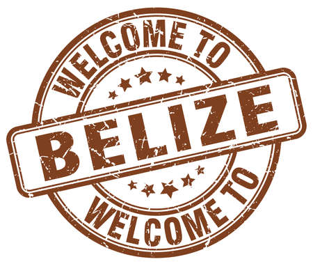 belize: welcome to Belize brown round vintage stamp