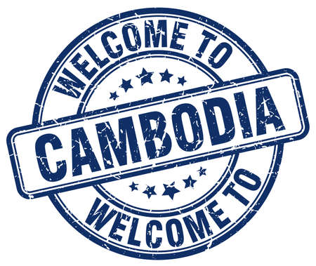 cambodia: welcome to Cambodia blue round vintage stamp Illustration
