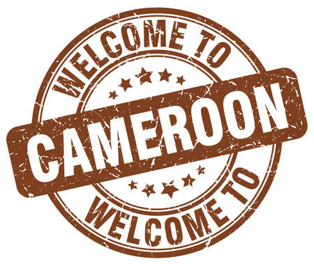 cameroon: welcome to Cameroon brown round vintage stamp Illustration