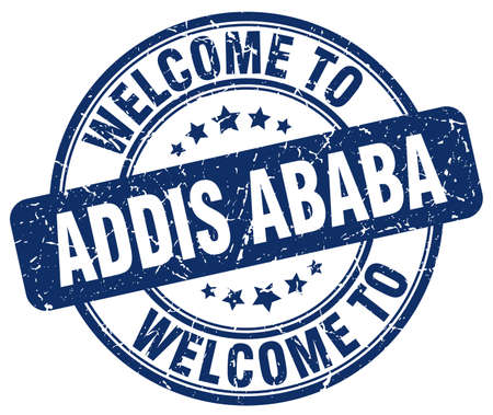 ababa: welcome to Addis Ababa blue round vintage stamp