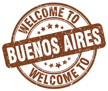 buenos aires: welcome to Buenos Aires brown round vintage stamp