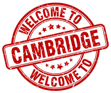 cambridge: welcome to Cambridge red round vintage stamp