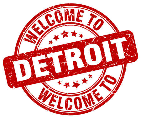 detroit: welcome to Detroit red round vintage stamp