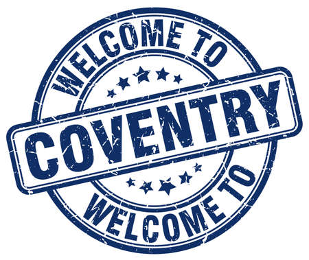 welcome to Coventry blue round vintage stamp