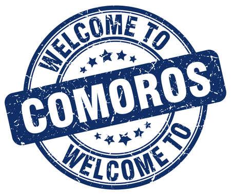 comoros: welcome to Comoros blue round vintage stamp