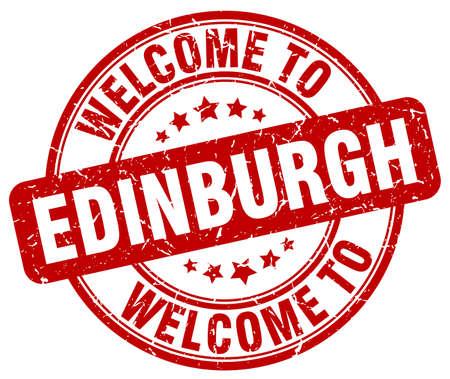 edinburgh: welcome to Edinburgh red round vintage stamp