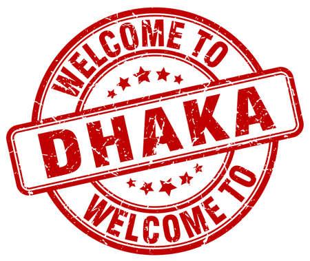 dhaka: welcome to Dhaka red round vintage stamp