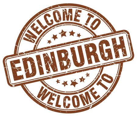 edinburgh: welcome to Edinburgh brown round vintage stamp Illustration