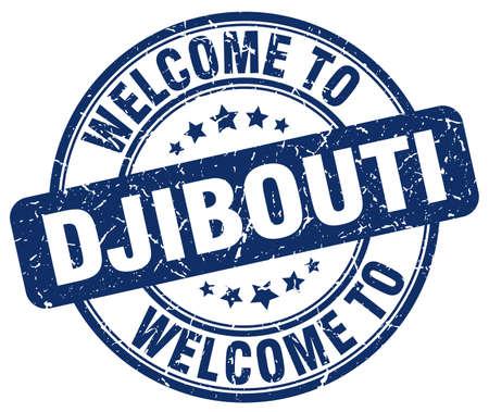 djibouti: welcome to Djibouti blue round vintage stamp