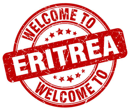 eritrea: welcome to Eritrea red round vintage stamp Illustration