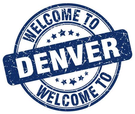 denver: welcome to Denver blue round vintage stamp Illustration