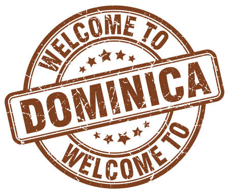 dominica: welcome to Dominica brown round vintage stamp Illustration