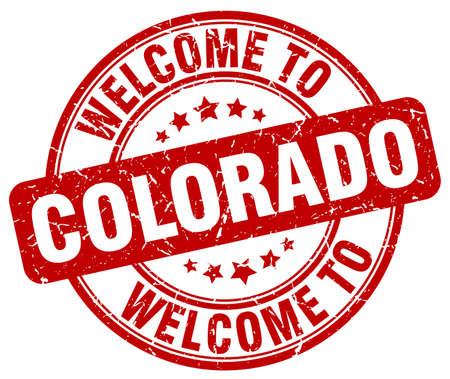 colorado: welcome to Colorado red round vintage stamp Illustration