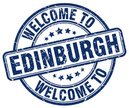 edinburgh: welcome to Edinburgh blue round vintage stamp