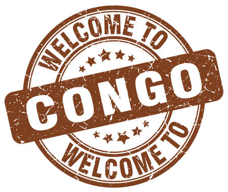 Congo: welcome to Congo brown round vintage stamp