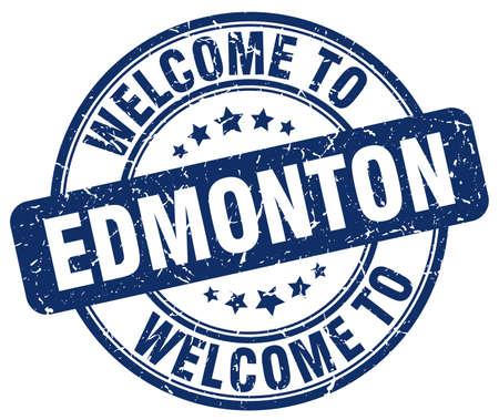 edmonton: welcome to Edmonton blue round vintage stamp