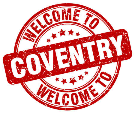 welcome to Coventry red round vintage stamp Illustration