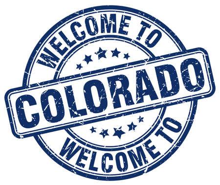colorado: welcome to Colorado blue round vintage stamp