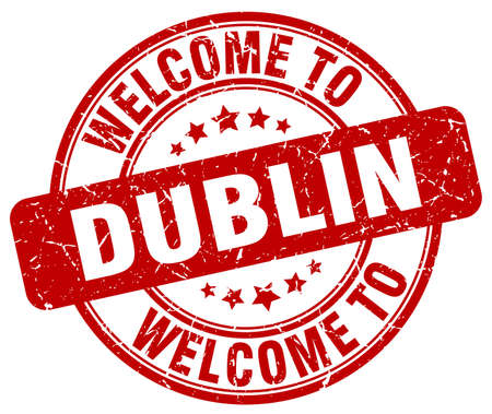 dublin: welcome to Dublin red round vintage stamp