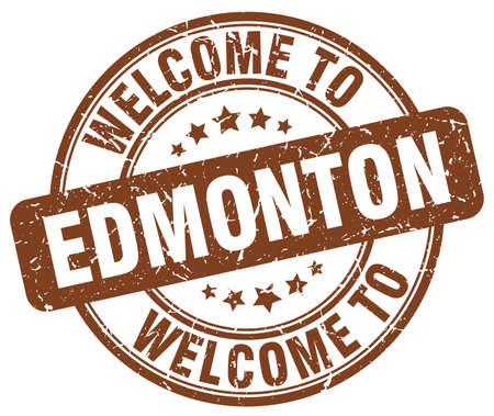 edmonton: welcome to Edmonton brown round vintage stamp