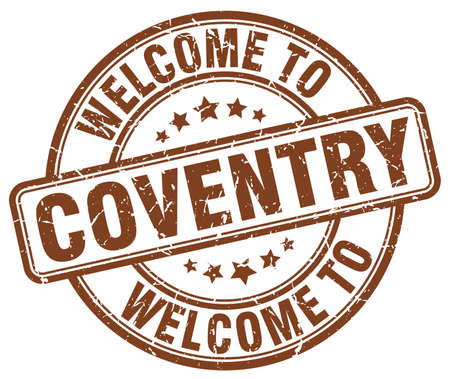 welcome to Coventry brown round vintage stamp Illustration