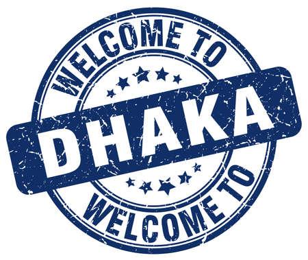 dhaka: welcome to Dhaka blue round vintage stamp Illustration