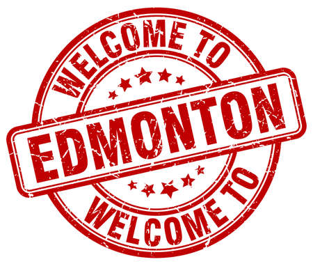 edmonton: welcome to Edmonton red round vintage stamp