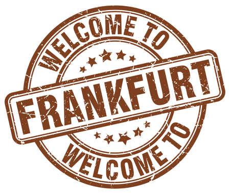 frankfurt: welcome to Frankfurt brown round vintage stamp