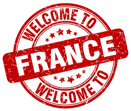 france stamp: welcome to France red round vintage stamp