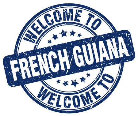 guiana: welcome to French Guiana blue round vintage stamp