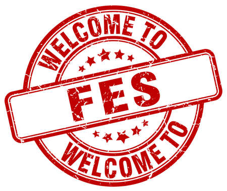 fes: welcome to Fes red round vintage stamp Illustration