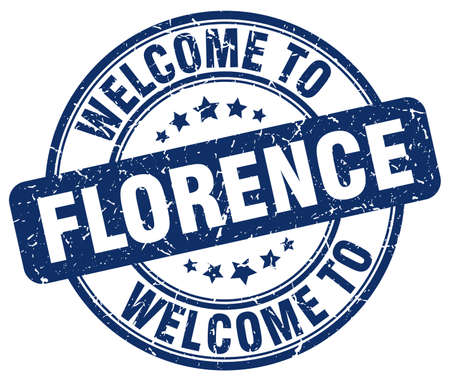florence: welcome to Florence blue round vintage stamp