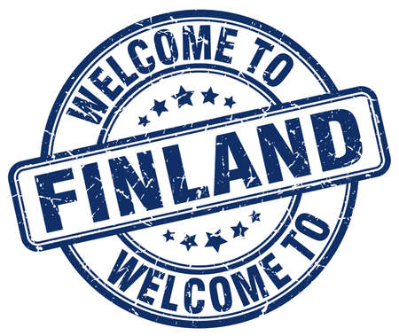 welcome to Finland blue round vintage stamp